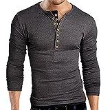 OrenMode Men's Henley Shirt Cotton Casual Long Sleeve Slim Fit Tops Grey...