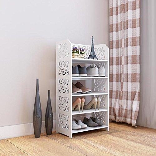 "DL furniture - WPC Multipurpose 5 Tiers Tall Shoe Rack & Book Shelf, L16.5"" x W9.5"" x H32"" Environmental Friendly Material | White"
