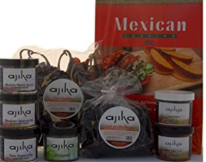 Mexican Food Gift Box - Spices Cook Book - Gourmet Southwestern South Of The Border Basket For The Chef - Seasonings For Cooking Meats Taco Frioles by Ajika