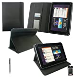 Emartbuy® Black Dual Function Stylus + Universal Range ( 8 - 9 Inch ) Black Carbon PU Leather Multi Angle Executive Folio Wallet Case Cover With Card Slots Suitable for Argos Bush MyTablet2 8 Inch