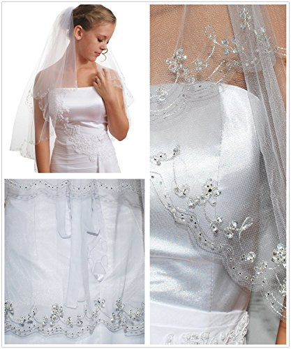 Gogh 2T 2 Tier Silver Lined Beaded Edge Fingertip Length Bridal Wedding Veil 09 (Light Ivory)