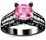 2.41ct Pink Sapphire Cushion Cut Diamond Engagement Ring 18K Black Gold