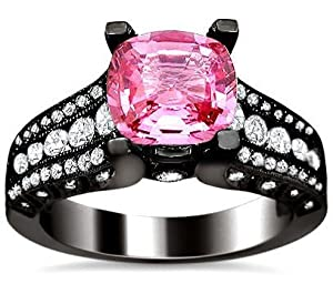2.41ct Pink Sapphire Cushion Cut Diamond Engagement Ring 18K Black Gold Rhodium Plating Over White Gold