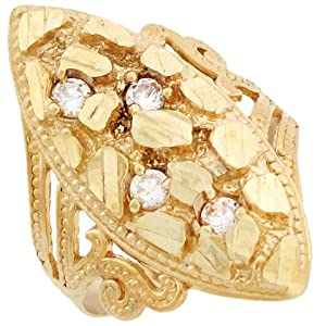 14k Solid Yellow Gold Nugget Diamond Cut CZ Filigree Ring