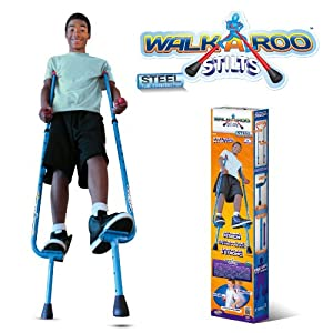 Walkaroo Stilts by Air Kicks (Steel) with Ergonomic Design for Easy Balance Walking, BLUE from Geospace