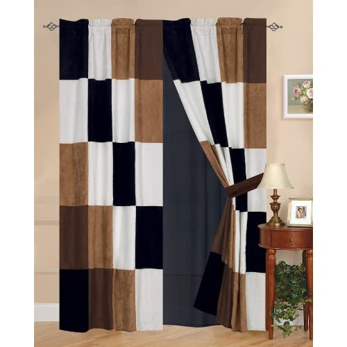 ... Berkley Patchwork Micro Suede Curtain Set - Window Treatment Curtains