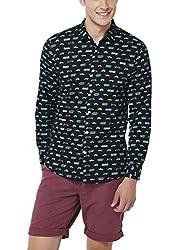 Chumbak Men's Casual Shirt (8904218042871_CMSCS001 S_Small_Black)