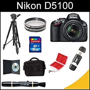 Nikon D5100 16.2MP CMOS Digital SLR Camera with 18-55mm f/3.5-5.6 AF-S DX VR Nikkor Zoom Lens (Black) with Tripod, 16gb SDHC Card, Wallet Card Case, Memory Card Reader, Lens Brush, Filters, DSLR Case, and Instructional DVD Kit