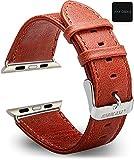 JISONCASE Apple Watch バンド 【本革ヴィンテージレザー】 ベルト 交換用ラグ付属 全3色 【your case Sticky Cleaner セット】 (42mm, レッド)