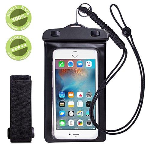 WALNEW スマートフォン用防水ケース スマホケース防水 スマホカバー iPhone6s/iPhone6splus/iPhone5s/Samsung Galaxy/Nexus/Xperia全てのスマホ対応可能 完全防水カバー ストラップとアームバンド付き,ブラック