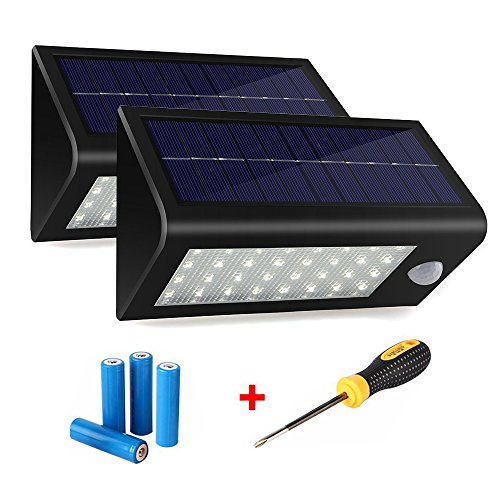 400Lumens-Max-32LED-Solar-Lights-Hallomall-Waterproof-Solar-Powered-Outdoor-Motion-Sensor-Lightswith-Lithium-Batteries-Screwdriver3-Intelligent-ModesWireless-Exterior-Security-Lighting