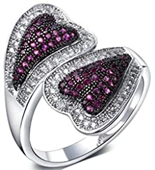 buy Beydodo White Gold Plated Women'S Promise Ring Purple Two Tone Heart Shape Cubic Zirconia Size 8