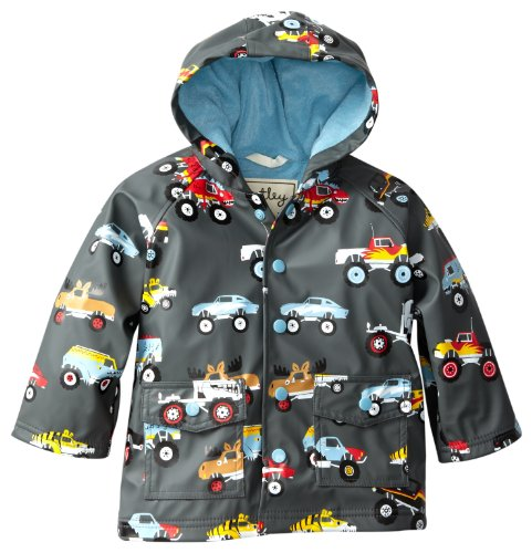 Hatley Little Boys' Rain Coat-Monster Truck, Gray, 1T front-943542