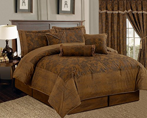 7-Piece-Dark-Camel-Brown-Lavish-Oversize-106X-94-Comforter-Set-Micro-Suede-Bed-In-A-Bag-California-King-Size-Bedding