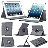 Stuff4 Leather Smart Case with 360 Degree Rotating Swivel Action and Free Screen Protector/Stylus Touch Pen for Apple iPad Mini/Mini Retina - Grey