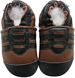 Carozoo baby boy soft sole leather baby shoes infant toddler kids slippers Sport Black Brown 18-24m
