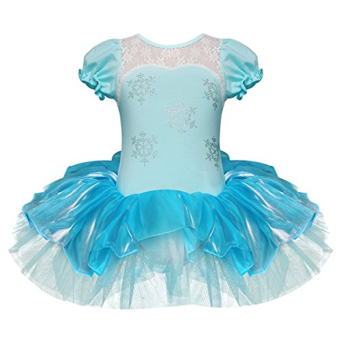 [FEESHOW Girls Embroidered Ballet Leotard Dance Tutu Dress Party Dancewear Costume Size 5-6 Blue] (Dance Costumes For Pageants)