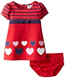Hartstrings Baby-Girls Newborn Heart Knit Ponte Dress and Panty Set, Christmas Red, 3-6 Months