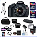 Canon EOS Rebel T5 18MP Digital SLR Camera USA Warranty with Canon EF-S 18-55mm f/3.5-5.6 IS II Lens + High Quality 2.2X Telephoto & .43X Wide Angle Lenses + Auto Power Flash + 48GB Accessory Bundle Kit