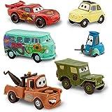 DISNEY PIXAR CARS FIGURINE SET - Lightning McQueen, Tow Mater / Martin, Sarge, Guido, Luigi et Fillmore (PVC, Plastic)
