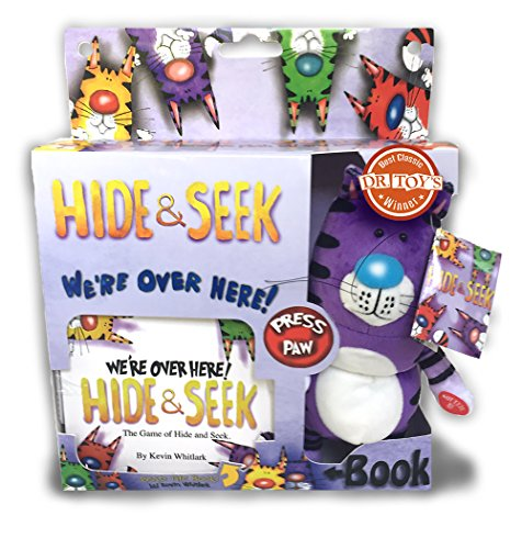 Extra-Soft-Interactive-Stuffed-Animal-Hide-and-Seek-Plush-Toy-Cat-with-Book-Available-in-4-Collectible-Colors-Undy-Purple
