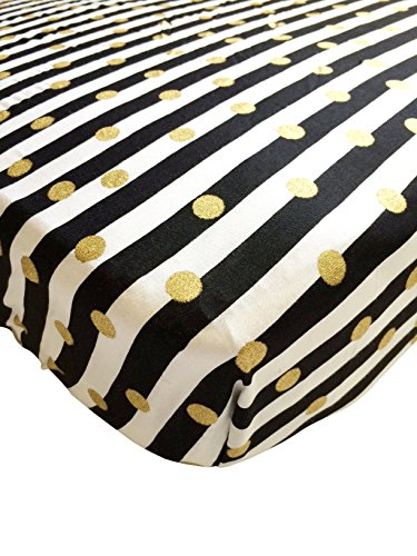Danha Crib Sheet (Gold dot & Stripe) (Black White Crib Sheet compare prices)