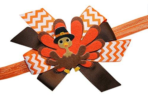 Webb Direct 2U Baby-Girls Pilgrim Tom Turkey Thanksgiving Hair Bow Headband 8041 front-11950