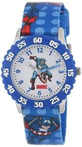 Marvel Comics Kids' W000135 Captain America Stainless Steel Time Teacher Watch