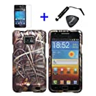 4 items Combo: Stylus Pen + Screen Protector Film + Case Opener + Wildlife Outdoor Pond Lake Grass Camouflage Design Rubberized Snap on Hard Shell Cover Faceplate Skin Phone Case for Samsung Galaxy S2 / SII / II / 2 / SGH-i777 / i9100 (AT&T Version) / Straight Talk S959G