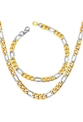 Men's Stainless Steel Italian Solid Figaro Chain Necklace & Bracelet Set