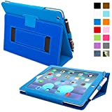 Snugg iPad 2 Leather Case in Electric Blue - Flip Stand Cover with Elastic Hand Strap and Premium Nubuck Fibre Interior - Automatically Wakes and Puts the Apple iPad 2 to Sleep
