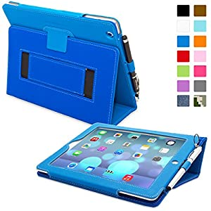 Snugg™ iPad 2 Case - Smart Cover with Flip Stand & Lifetime Guarantee (Electric Blue Leather) for Apple iPad 2