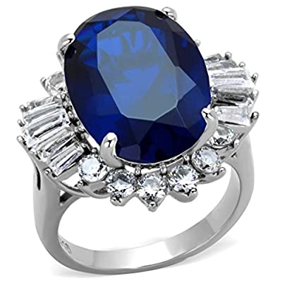 YourJewelleryBox TK1872PB OVAL CUT BAGUETTES SIMULATED DIAMONDS RING SAPPHIRE STAINLESS STEEL