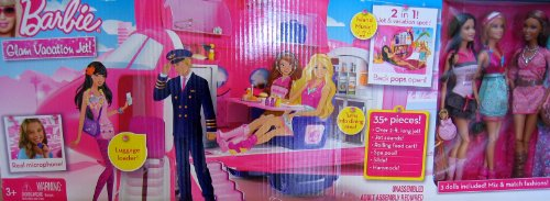 Barbie Glam Vacation Jet! - 2 in 1 Jet & Vacation Spot 35+ Piece Playset w Plane, 3 Dolls. Island Music & More! (2009)