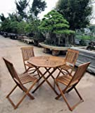 BENTLEY WOODEN GARDEN FURNITURE PATIO TABLE & 4 CHAIRS 5PC SET