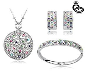 Ninabox ® Rainbow Collection [RC] -- Rainbow Veins. Colorful, Beautiful, Wonderful, Graceful. 18K White Gold Plated Alloy Swarovski Elements Crystal Jewelry Set. Necklace, Bangle Bracelet and Earrings All in One! T000120