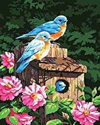 [ New Release ] Diy Oil Painting by Numbers, Paint by Number Kits - Three Birds 16*20 inches - Digital Oil Painting Canvas Wall Art Artwork Landscape Paintings for Home Living Room Office Christmas Decor Decorations Gifts - Diy Paint by Numbers Diy Canvas