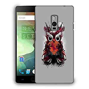 Snoogg Abstract Red Owl Designer Protective Back Case Cover For ONEPLUS TWO