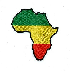 Patch ecusson brode thermocollant carte afrique rasta reggae lion judah