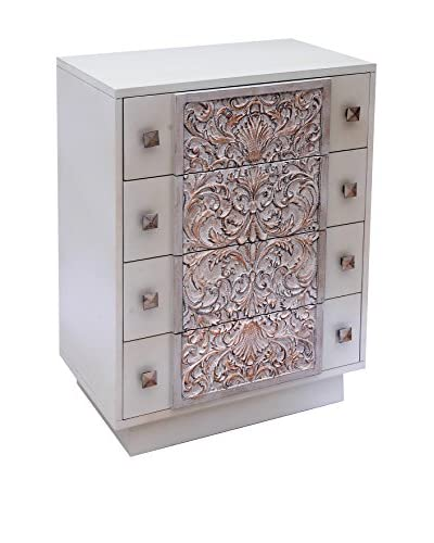 Alexandra House Cassettiera Muscat BLANCO Y BRONCE