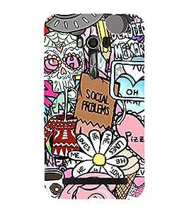 Fuson Premium Back Case Cover Crazy pattern With Brown Background Degined For Asus Zenfone Go::Asus Zenfone Go ZC500TG