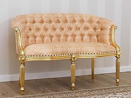 Sofa Isabelle Barock Französisch 2Sitzer Blattgold Stoff damast Elfenbein und Gold Knöpfen Swarovski