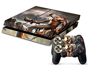 PS4 Designer Skin for Sony PS4 Console System Plus Two(2) Decals For: Playstation 4 Dualshock Controller - God of War