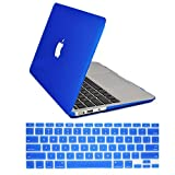 "Dealgadgets Blue Rubberized Frosted Matte Surface Hard Shell Case Cover for 2014 New Macbook Air 13"" 13.3"" A1369 & A1466 with Silicone Keyboard Cover Skin Stickers Protector (Blue)"