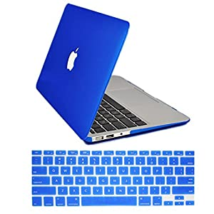 "IDACA Blue Frosted Matte Hard Shell Case Cover for Macbook Air 13"" 13.3"" A1369 & A1466 and 2014 New Macbook Air with Silicone Keyboard Cover Skin Stickers Protector (USA KEYBOARD VERSION)"