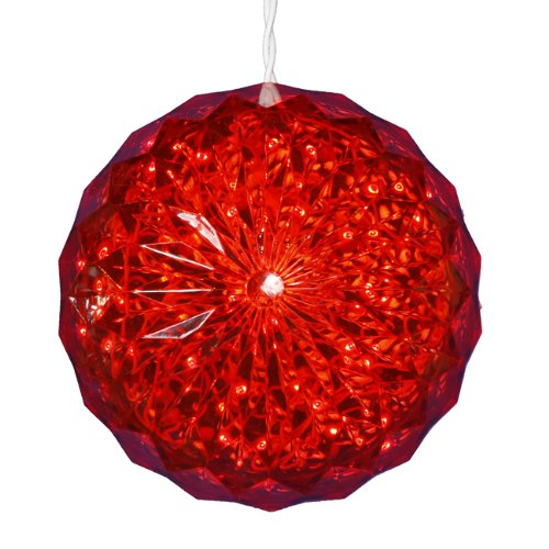 Red LED Lighted Hanging Christmas Crystal Sphere