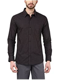 American Crew Men's Full Sleeve Checks Shirt With Pocket (Black)