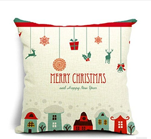 Beety P56 Merry Christmas Gifts - Happy New Year Home Cotton Linen Throw Pillow Case Cushion Cover Home Sofa Decorative 18 Inch Square
