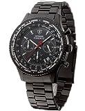 DeTomaso SM1624C-BK - Reloj de caballero de cuarzo, correa de acero inoxidable color negro (con cronómetro)