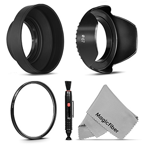 67MM Accessory Kit for CANON Rebel T5i T4i T3i T3 T2i, EOS 700D 650D 600D 550D 70D 60D 7D 6D DSLR Cameras with 18-135MM EF-S IS STM Zoom Lens - Includes: Tulip Lens Hood + Collapsible Rubber Lens Hood + UV Lens Filter + Lens Cleaning Pen + MagicFiber Microfiber Lens Cleaning Cloth (Lens Hood 75mm compare prices)